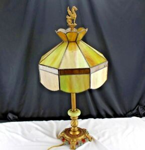 Antique Electric Table Lamp Stanford Stained Glass Shade Art Deco Cast Base