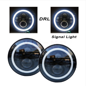 7 Inch Round Led Headlights With Halo Angle For Jeep Wrangler Jk Lj 97 2017 New