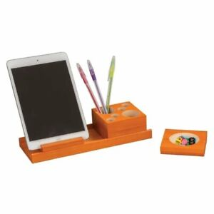 Pemberly Row 4 Piece Wood Desk Organizer Set In Orange