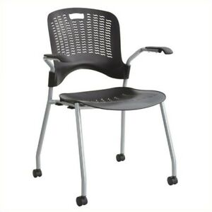 Pemberly Row Stack Guest Chair In Black set Of 2