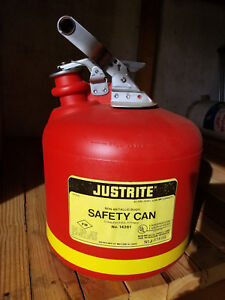 Justrite Safety Gas Can 14261 2 5 Gallon Polyethylene Non metallic Ul Certified