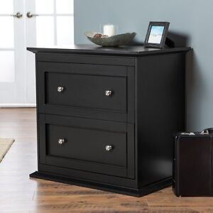 Belham Living Hampton 2 drawer Lateral Wood Filing Cabinet Black Black