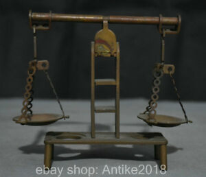 5 4 Collect Rare Old China Dynasty Bronze Balance Scale Steelyard Decoration
