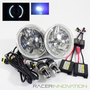 10000k Blue Hi Low Hid 7 Round H6014 H6024 Crystal White Led Ring Headlights