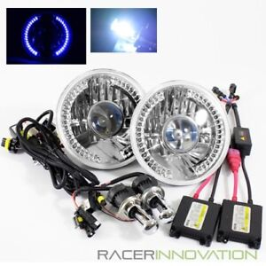 8000k Blue White Bi Xenon Hid 7 Round H6024 Blue Led Ring Projector Headlights