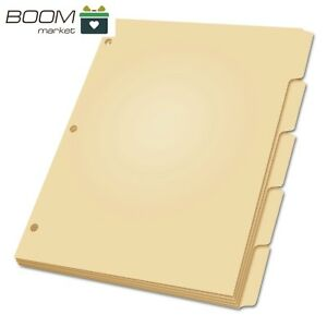 Oxford Blank Write on Tab Dividers For Binders Three hole Punched Index 5 tab