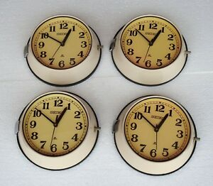 Lot Of 4 Vintage 1980 S Slave Maritime Clock Nautical Ship Quartz Seiko Japam