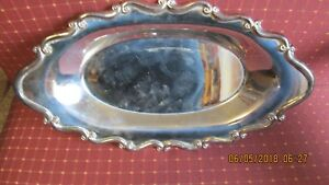 Antique Vintage Fb Rogers Oval Silver Serving Tray Possable 1800s
