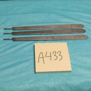 Aesculap Bb075r Long Scalpel Handle Number 3 set Of 3