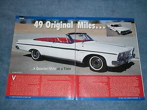 1963 Plymouth Sport Fury Convertible Max Wedge Article 49 Original Miles
