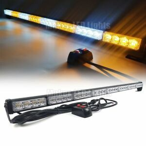 34 Led Emergency Traffic Advisor Directional Warn Strobe Light Bar Amber White