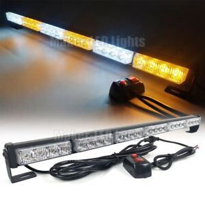 26 24w Led Warn Emergency Traffic Advisor Response Strobe Light Bar Amber White