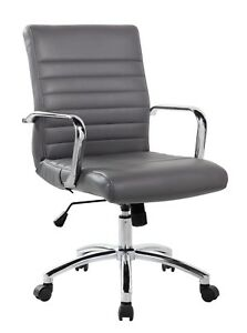 Realbiz Mid back Ribbed Faux Leather Office Chair Titanium Gray
