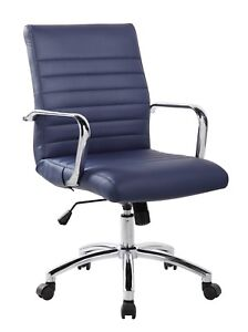 Realbiz Mid back Ribbed Faux Leather Office Chair Midnight Blue