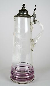Antique Mary Gregory Iridescent Glass Hand Painted Enamel Tankard