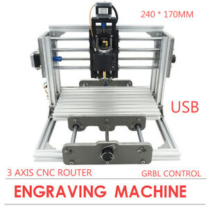 Usb 3 Aixs Cnc 2417 Router Desktop Metal Wood Engraver Pcb Engraving Machine Art