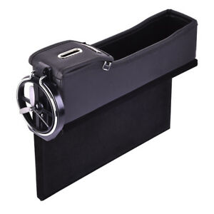Luxury Leather Car Left Seat Crevice Box Storage Cup Drink Holder Gap Pocket