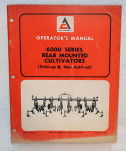 Allis chalmers 6000 Series Rear mounted Cultivators Operator s Manual