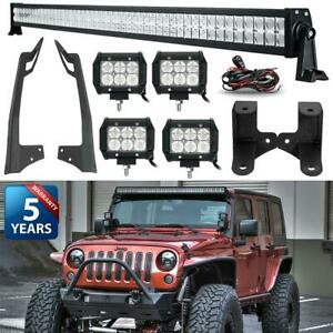 Fit Jeep Wrangler Jk 52inch 700w Led Work Light Bar 4x Pods Cube mount Bracket