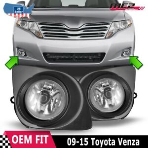 For Toyota Venza 09 12 Factory Bumper Replacement Fit Fog Lights Clear Lens