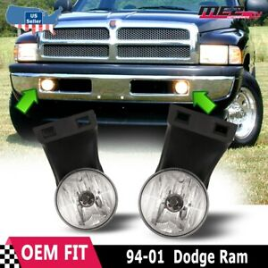 For Dodge Ram 94 01 Factory Bumper Replacement Fit Fog Lights Dot Clear Lens