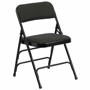 Bowery Hill Metal Folding Fabric Chair In Black
