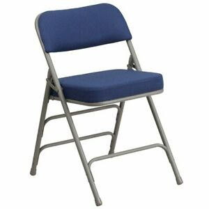 Bowery Hill Metal Folding Fabric Chair In Gray And Navy Blue