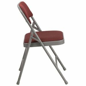 Bowery Hill Metal Folding Fabric Chair In Burgundy And Gray
