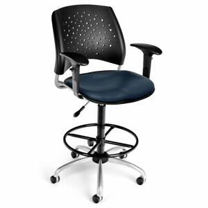 Bowery Hill Faux Leather Swivel Drafting Stool In Navy