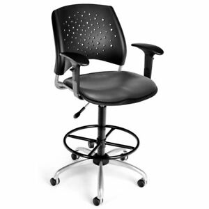 Bowery Hill Faux Leather Swivel Drafting Stool In Charcoal