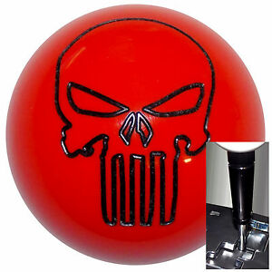 Orange Punisher Skull Shift Knob W Black Adapter For Auto Shifters See Desc