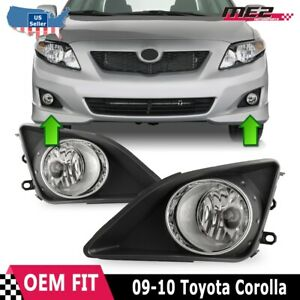 For Toyota Corolla 09 10 Factory Replacement Fog Lights Wiring Kit Clear Lens