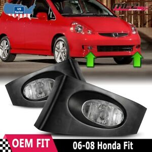 For Honda Fit 2006 2007 Factory Bumper Replacement Fit Fog Lights Clear Lens