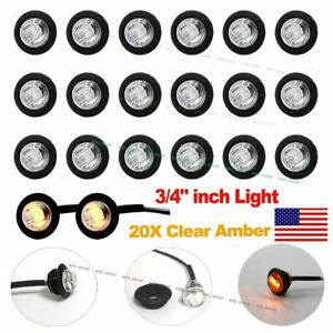 20x 3 4 Clear Amber Led Clerance Marker Bullet Lights Lamps Truck Trailer Bus