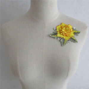 1pc Yellow 3d Flower Embroidery Applique Lace Neck Collar Fabric Patches Yl320