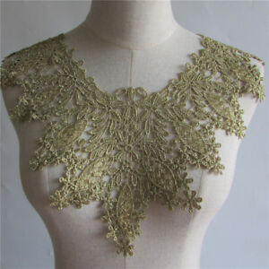 Golden Lace Collar Embroidery Trim Clothing Applique Patch Neckline Yl202