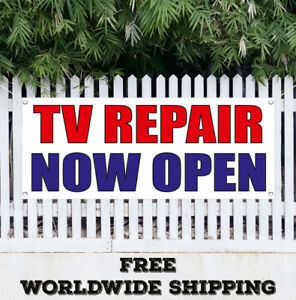 Banner Vinyl Tv Repair Now Open Advertising Sign Flag Shop Service Electronic