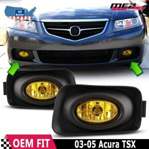 For Acura Tsx 04 05 Factory Replacement Fit Fog Lights Wiring Kit Yellow Lens