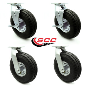 10 Inch Black Pneumatic Wheel Caster Set 4 Swivel With 2 Brakes Service Caster