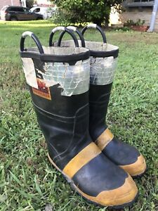 Servus Firefighter Boots Firebreaker Men s Sz 11 Wide Steel Toe Black And Yellow