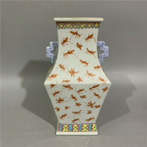 Chinese Old Marked Iron Red Gilt Insects Pattern Double Ear Porcelain Vase