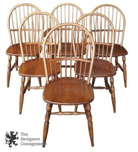 6 Colonial Windsor Style American Bow Back Ash Wood Dining Side Chairs Vintage