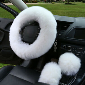 3pcs Fur Car Steering Wheel Cover Wool Winter Essential Universal White