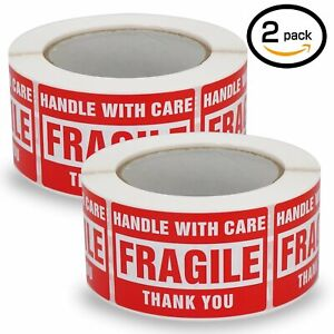 2 Rolls 3x5 Fragile Stickers Handle With Care Thank You Shipping Labels 500 roll