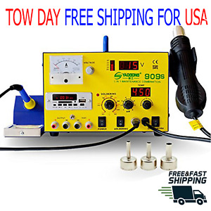 Yaogong 909s Hot Air Smd Rework Soldering Iron Station 3in 1 Dc Power Supply 15v