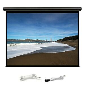 106 Motorized Projector Screen 16 9 Hd White Matte Home Theater W Ir Remote