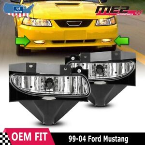For Ford Mustang 1999 2004 Factory Bumper Replacement Fit Fog Lights Clear Lens