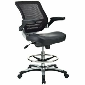 Hawthorne Collection Faux Leather Mesh Drafting Stool In Black
