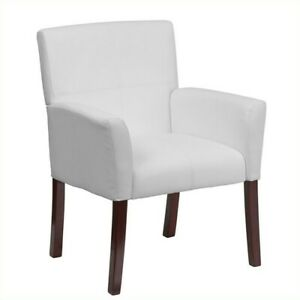 Scranton Co Leather Executive Side Guest Chair In White And Mahogany