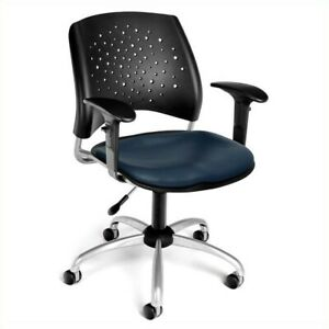 Scranton Co Swivel Office Chair With Vinyl Seats And Arms In Navy